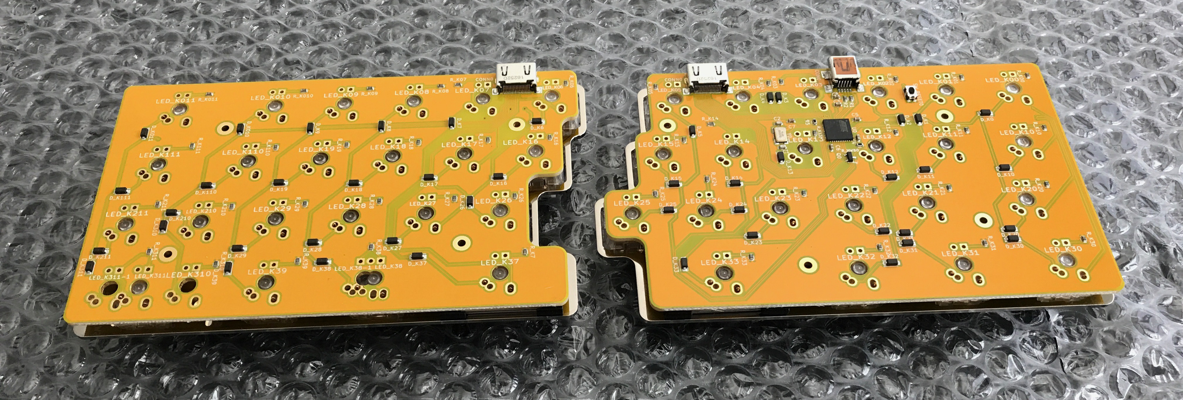 Underside of CaraVan PCBs mounted into the plates