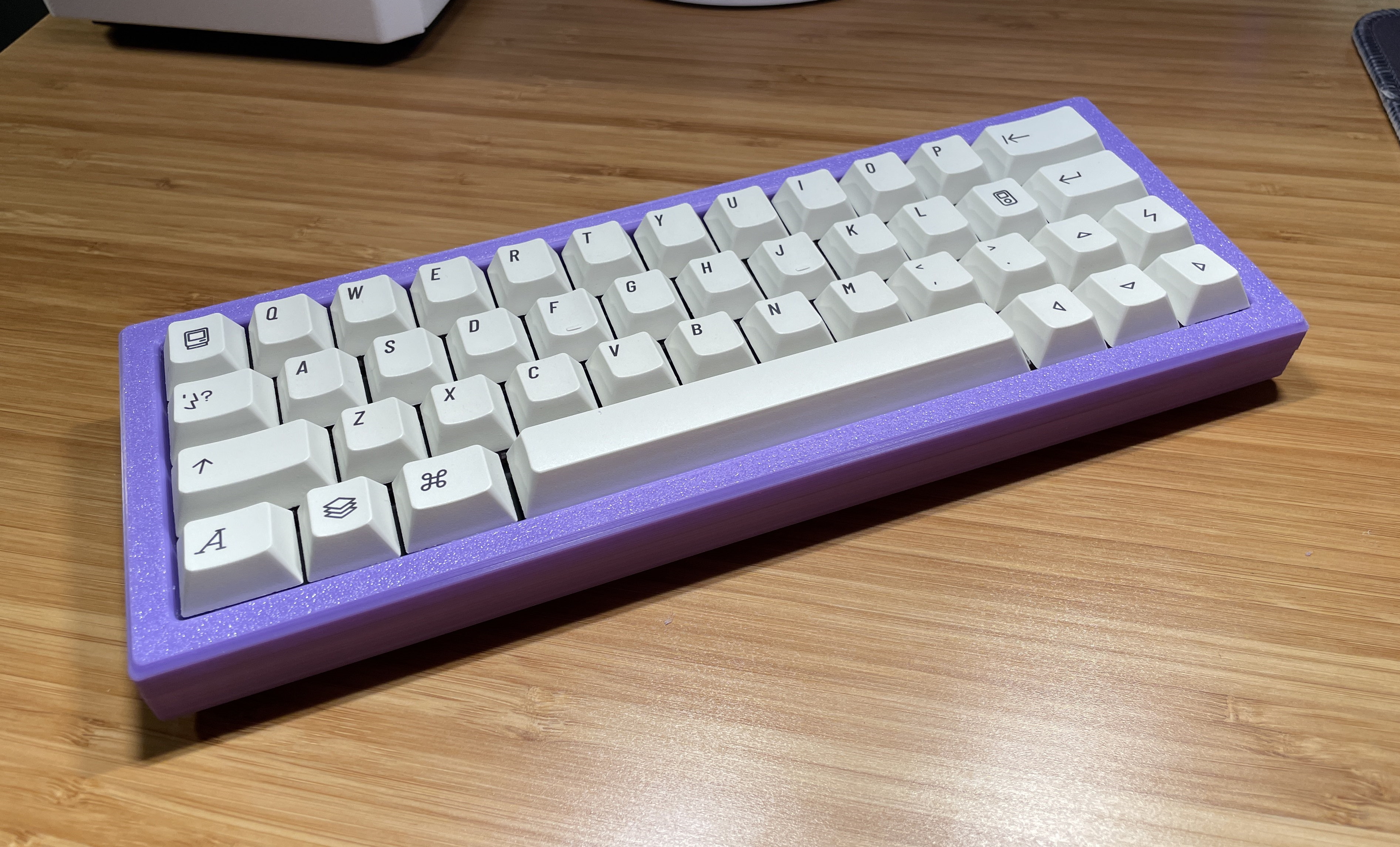 Purple 3D printed Carpool with EPBT Extended2048 keycaps