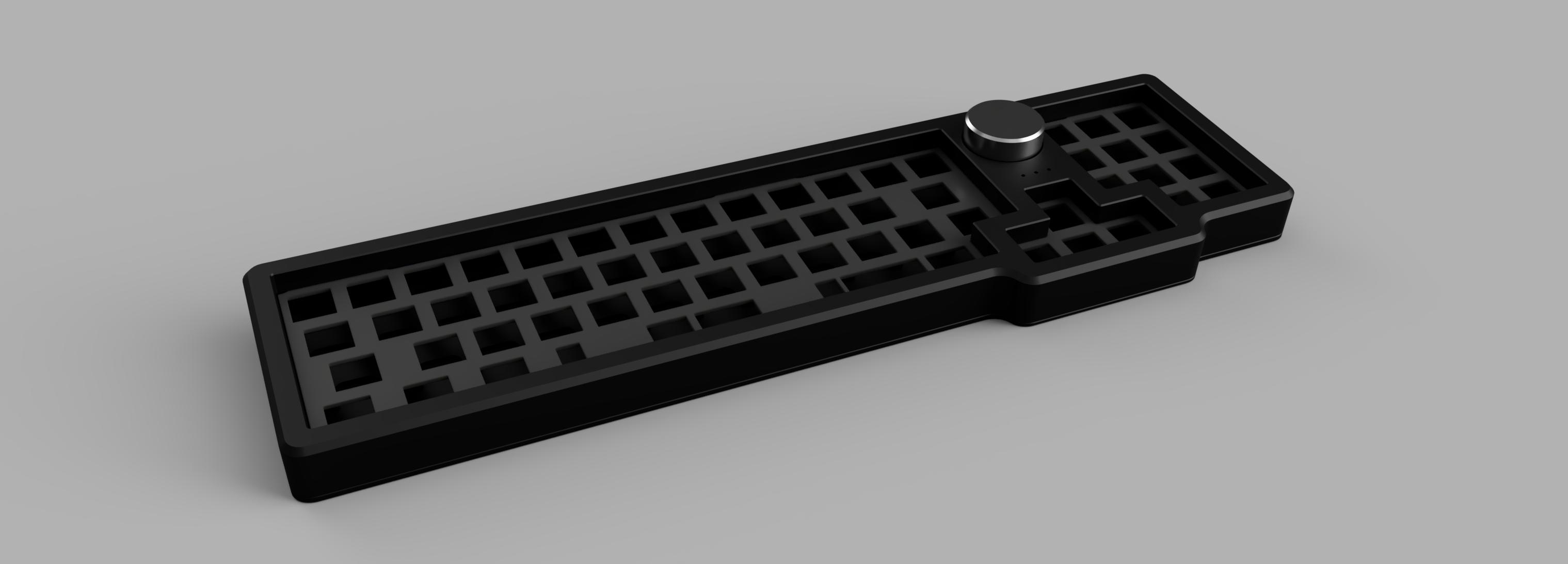 Render of the black aluminum case and titanium knob