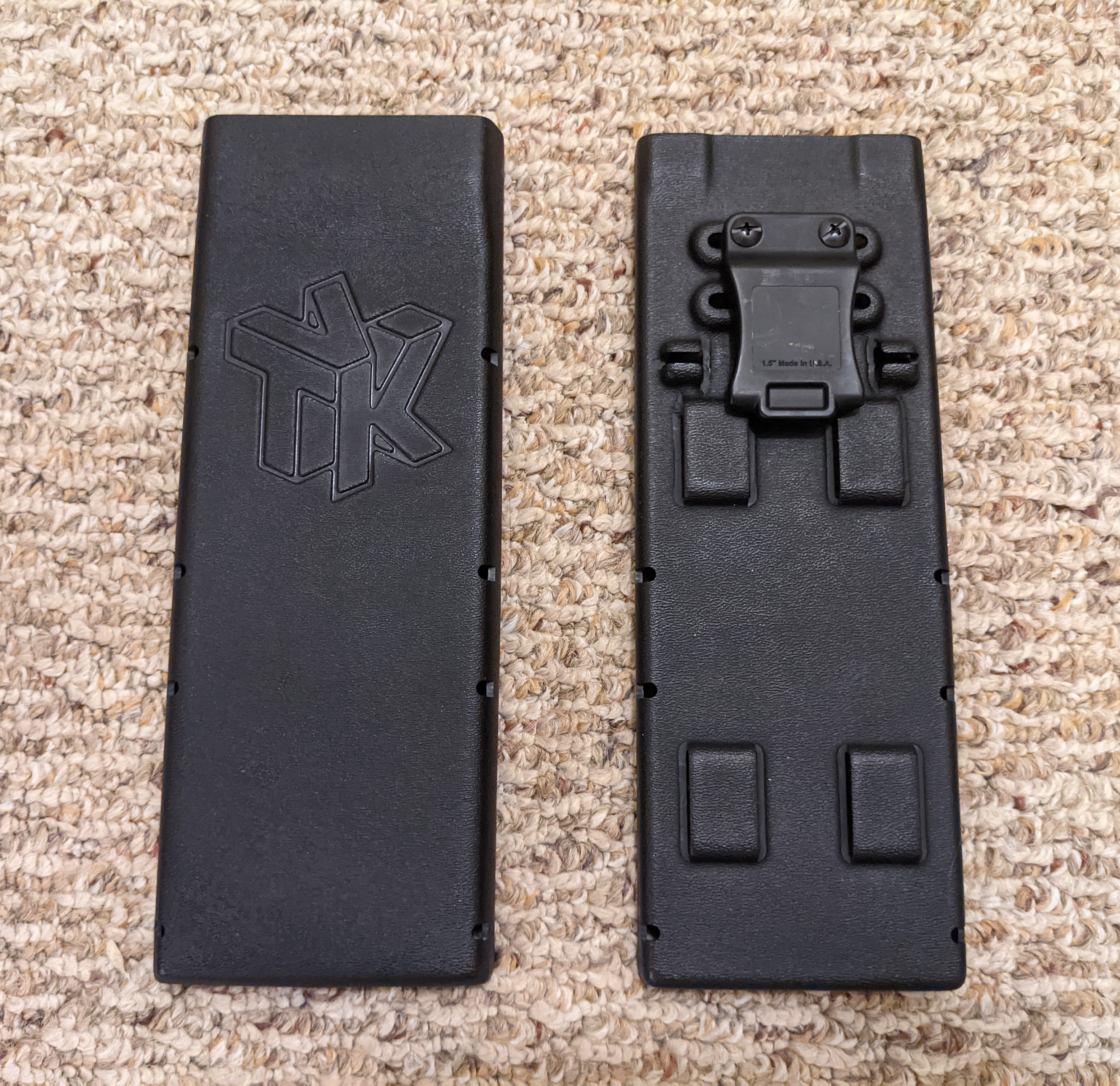 Front and back of a black Holster