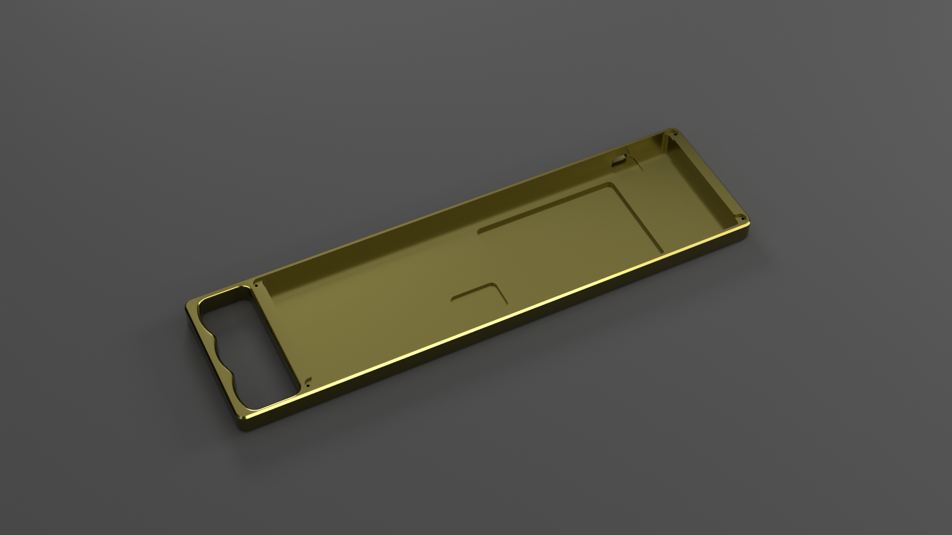 Render of Brass KnuckHull showing cutouts for Airport Shuttle PCBs