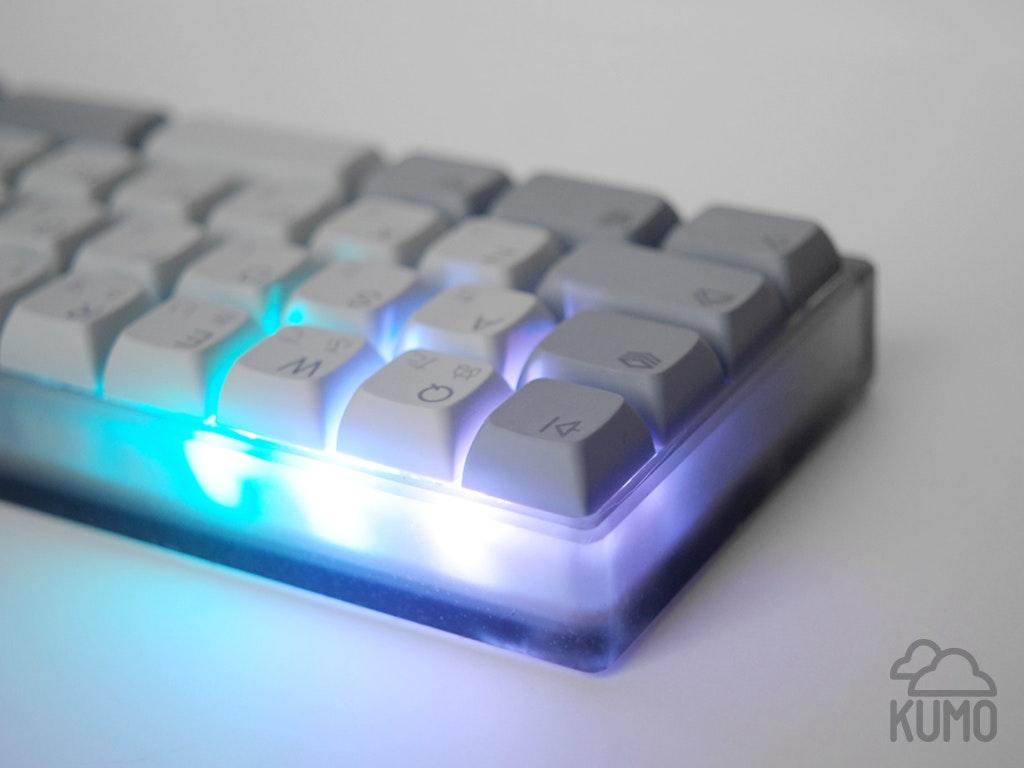 Closeup of prototype KUMO case showing diffused LEDs