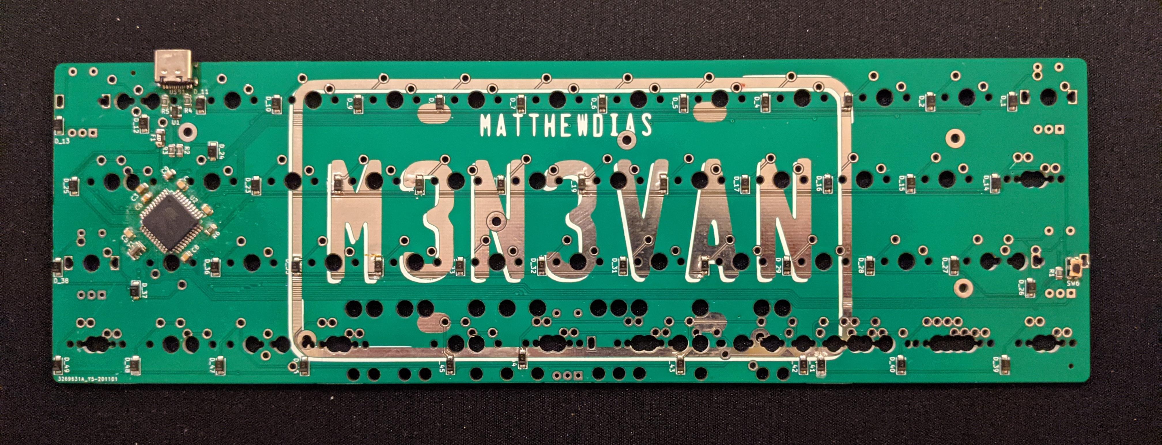 Back of the m3n3van rev1 PCB