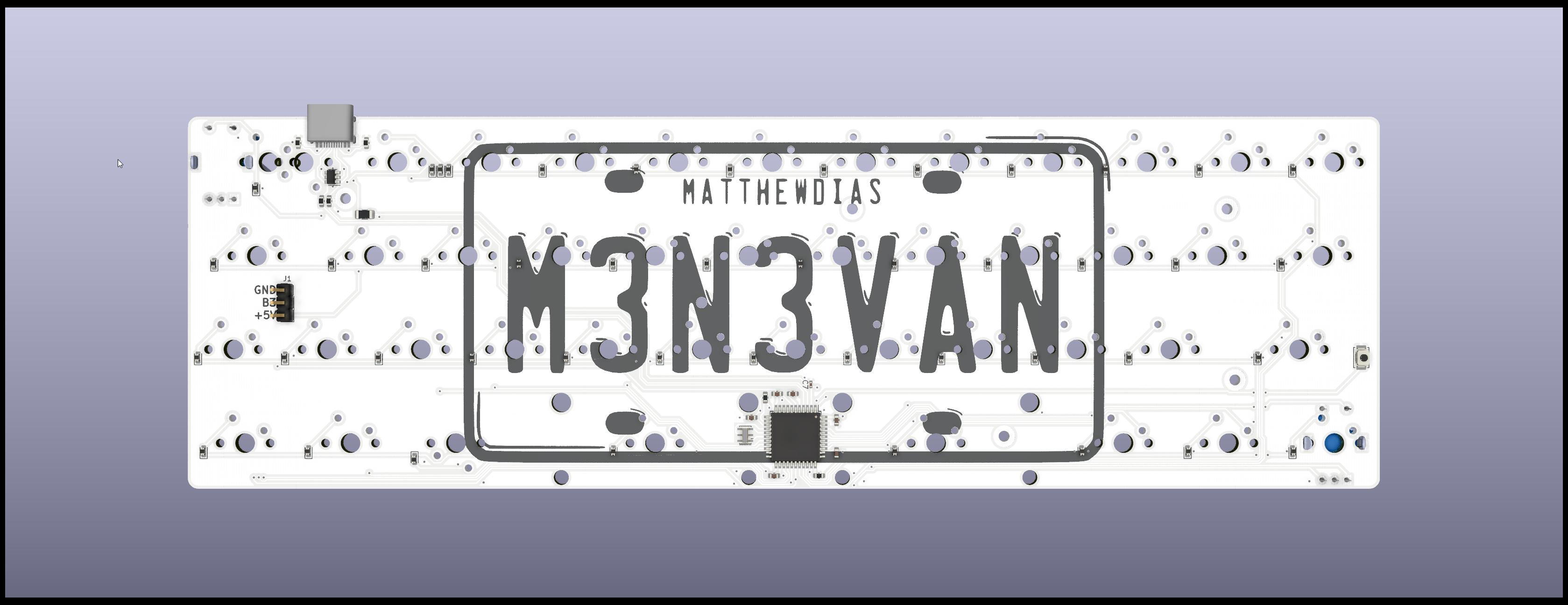 Render of m3n3van V2 PCB back