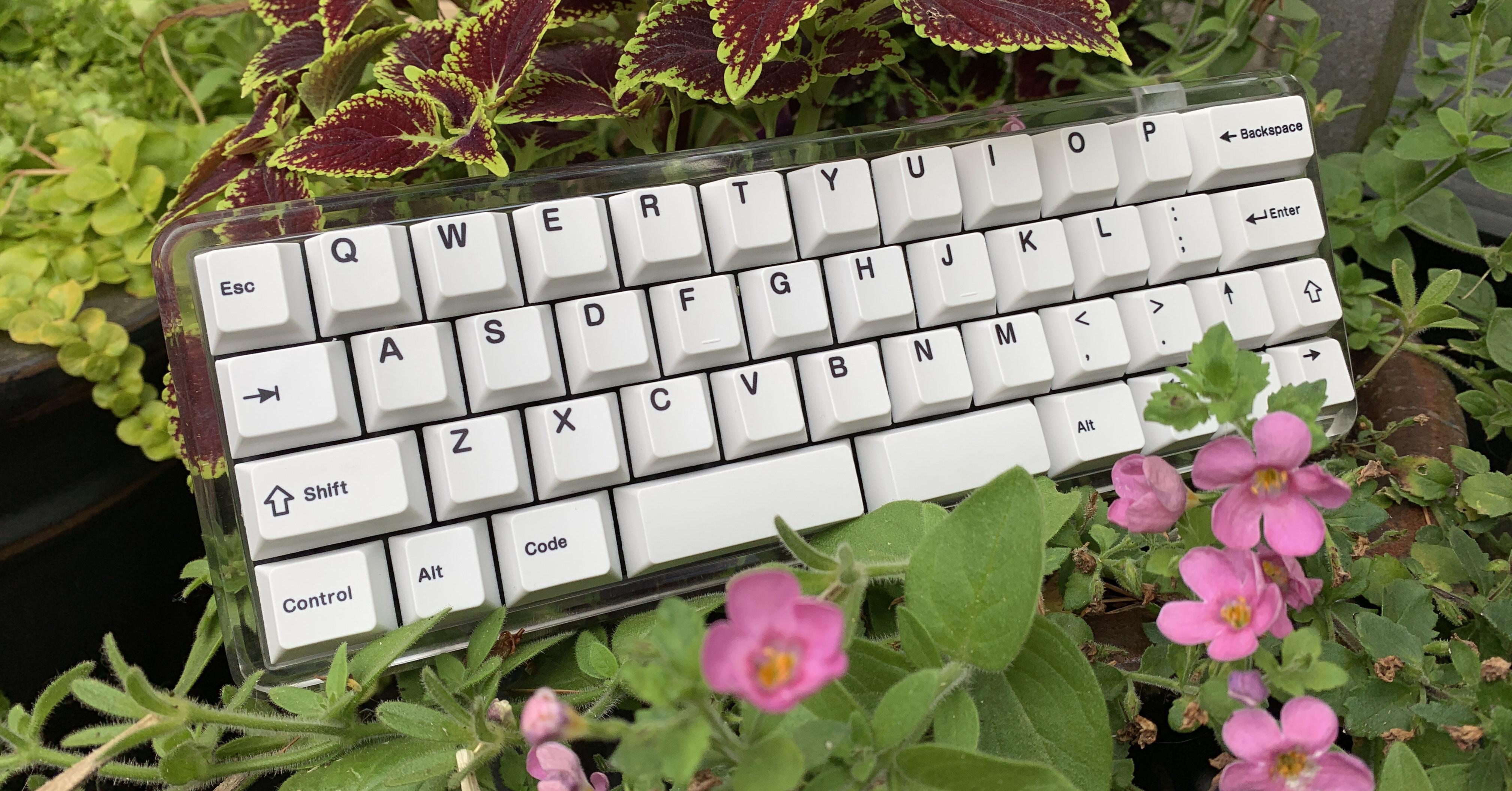 Clear acrylic MFR prototype with IFK black-on-white keycaps