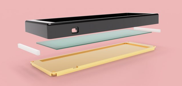 An exploded render of the rear of the case with a POM top and brass bottom