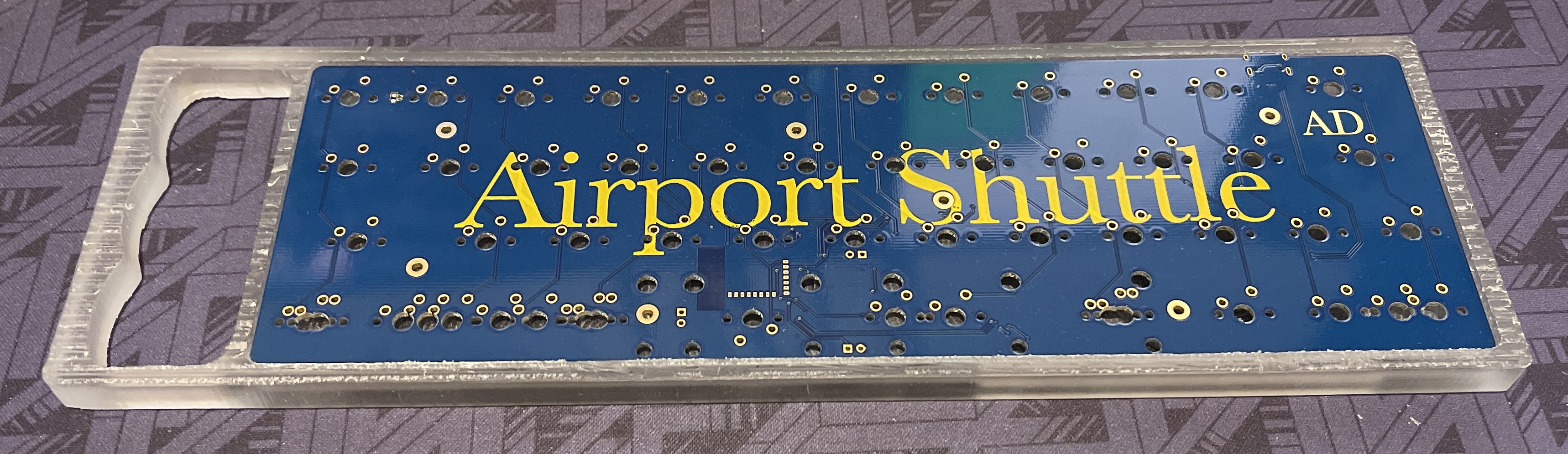 Top view of a polycarbonate Rackmount prototype with Airport Shuttle PCB