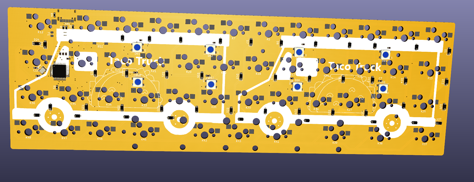 Render of the back of the prototype Taco Truck PCB