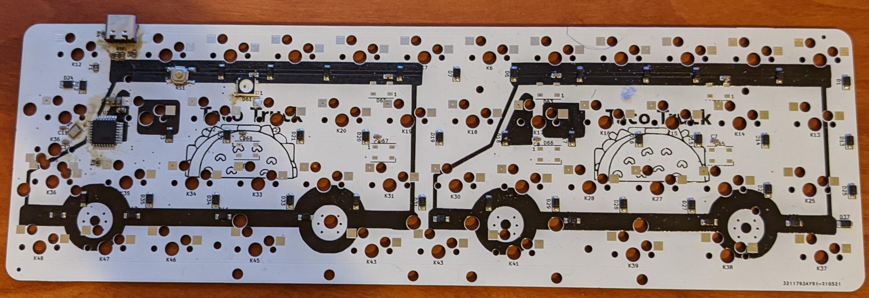 Bottom of a Rev 1 PCB