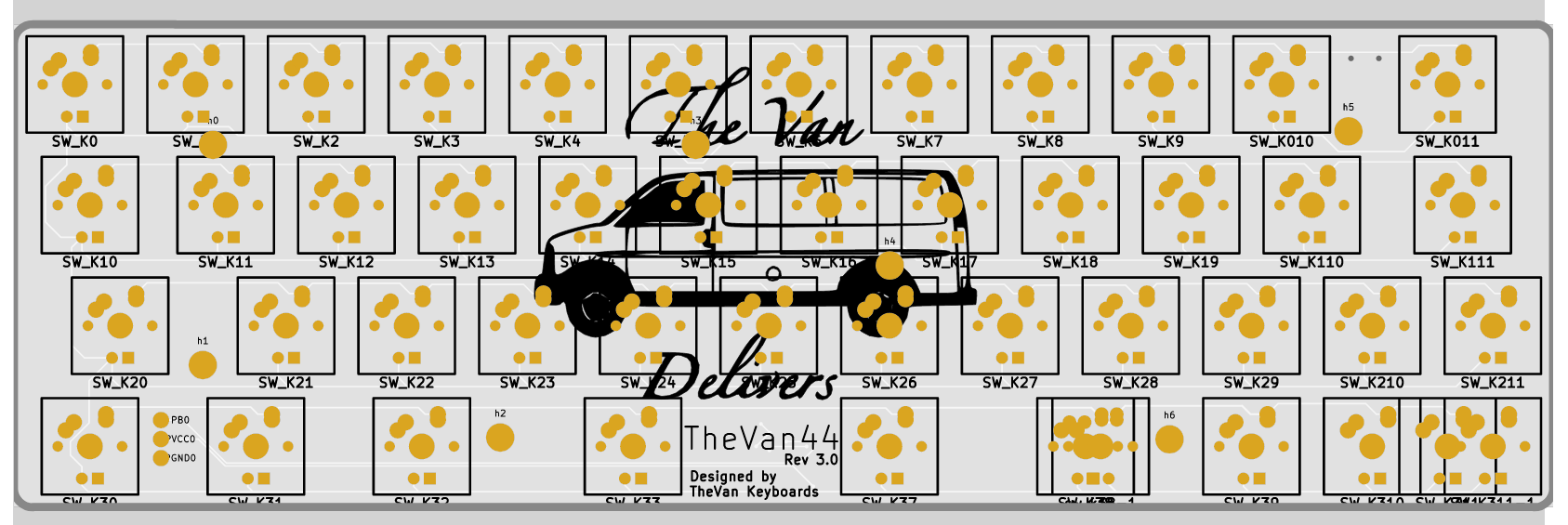 TheVan44 3.0 PCB front render