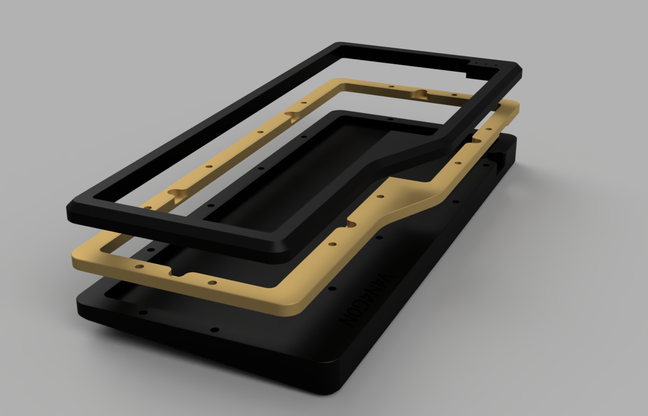 Exploded view render of the V4N4G0N R1 case