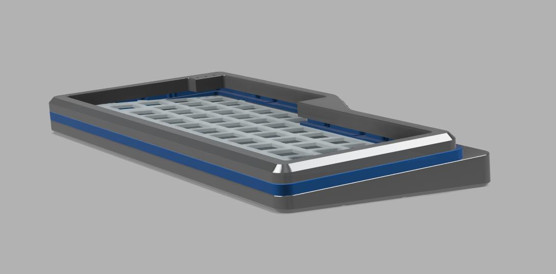 Render of V4N4G0N R2 case in silver-blue-silver colorway
