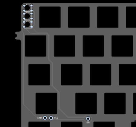 Render of the round 3 FR4 plate showing the pads for the three RGB indicator LEDs as well as the three pads for connecting to the PCB