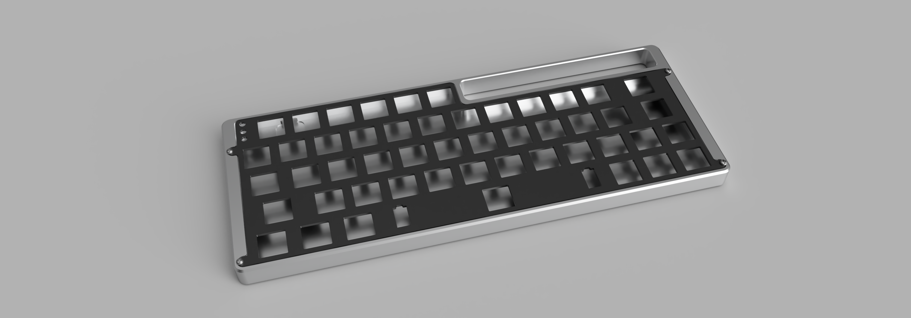 Render of V4N4G0N R3 case in silver anodized aluminum with a black FR4 plate