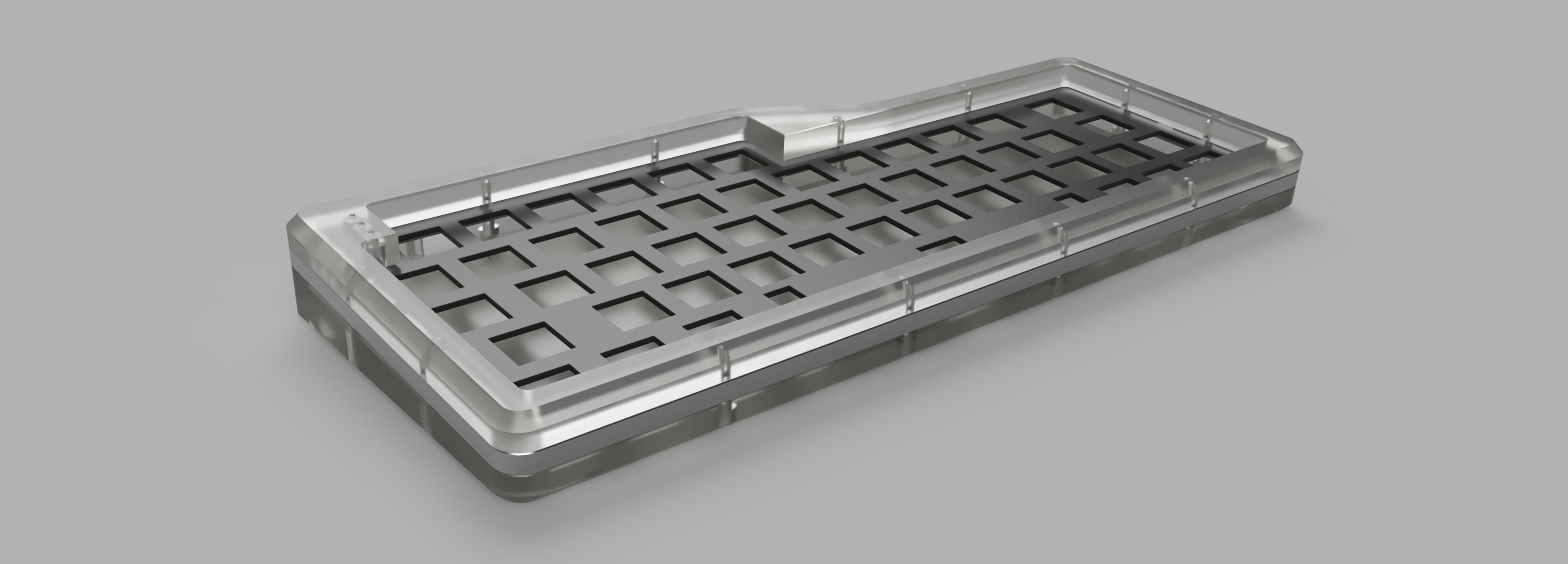 Render of a milled acrylic V4N4G0N R4 case with stainless steel middle layer